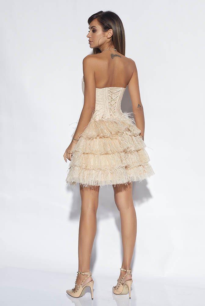Fergie Gorsetowa Sukienka Z Pirami Nude  Sklep Z Sukienkami Lou-4795